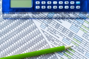 Calculator, pencil and data sheet